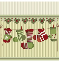Retro Christmas background with socks and mittens vector image vector image