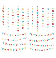 set of festive buntings flags and garlands vector image vector image