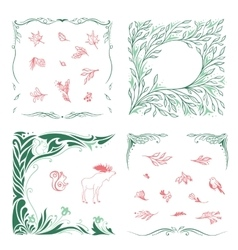Spring Ornamental Frames and Symbols Set vector image vector image