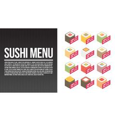 sushi menu template flat vector image vector image