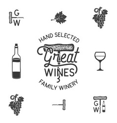 wine winery logo and icons elements drink vector image vector image