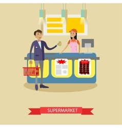 Supermarket poster in flat style customers vector