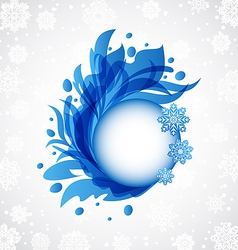 Winter floral blue transparent frame vector image