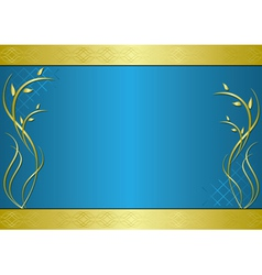 golden and blue frame with gradient vector image
