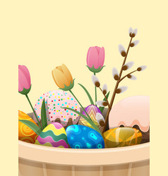 set of easter cake color eggs flowers and willow vector image