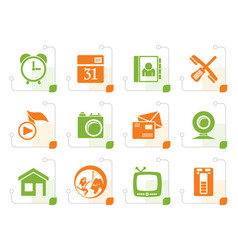 stylized mobile phone and computer icons vector image