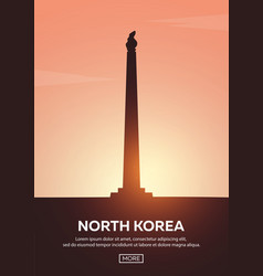 Travel poster to north korea landmarks vector
