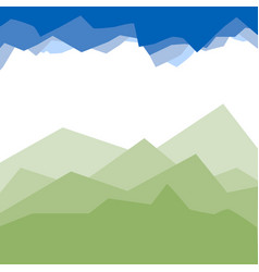 Green mountains in the fog vector