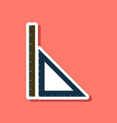 paper sticker on stylish background ruler vector image
