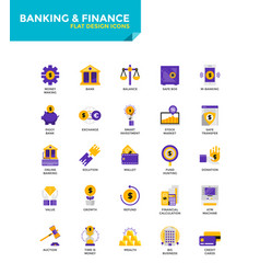 Modern material flat design icons - banking and vector