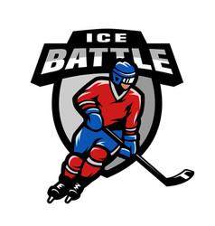 Hockey player logo emblem vector