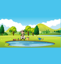 Scene with man fishing by the pond vector