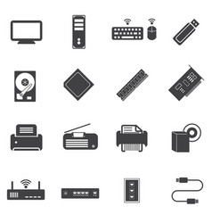 Big data icons set computer infrastructure vector