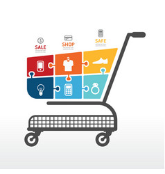 Infographic template with shopping cart vector