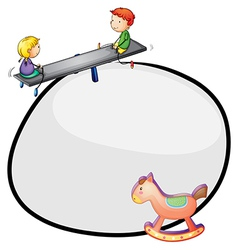 A round template with a toy and kids playing vector image