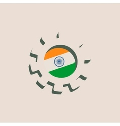 3D cog wheel with India flag vector image