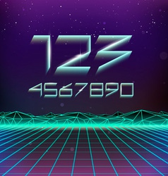 80s retro futurism geometric numbers vector