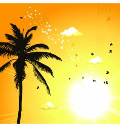 Tropical sunset palm trees vector