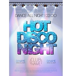 Disco background hot disco night poster vector