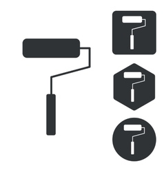 Paint roller icon set monochrome vector