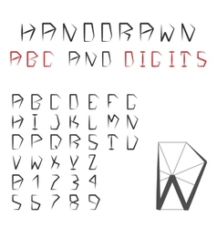 Hand drawn alphabet and digits pentagonal vector