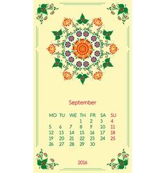 template calendar 2016 for month September vector image