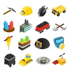Mining isometric 3d icons vector
