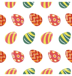 Happy easter seamless pattern with colorful eggs vector