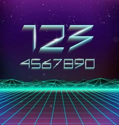 80s Retro Futurism Geometric Numbers vector image