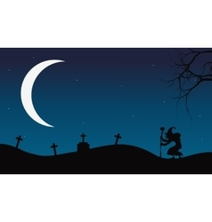 Halloween witch and crescent moon vector