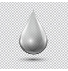 Transparent waterdrop on light gray background vector