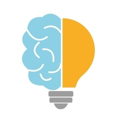 Blue brain and light bulb graphic vector
