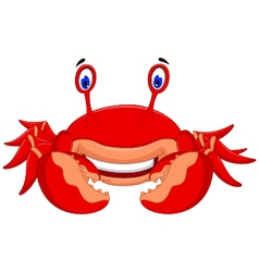 Cute crab cartoon look at camera vector