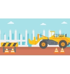 Background of excavator on construction site vector image