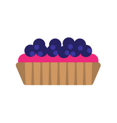 Bilberry cake flat icon isolated on white vector
