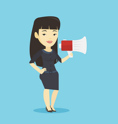 business woman speaking into megaphone vector image