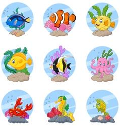 Cartoon sea life collection set vector