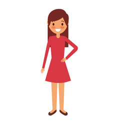cartoon young girl standing smiling vector image