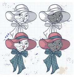 color set of elegant cat women face vector image