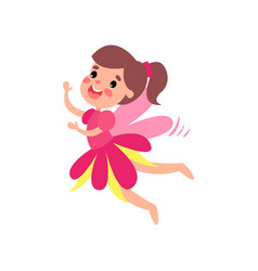 cute happy pink fairy with wings flying cartoon vector image vector image