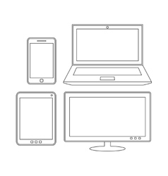 Electronic devices Laptop tablet smartphone and vector image vector image