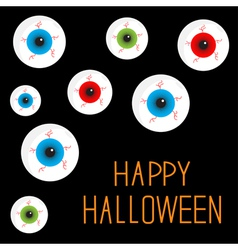 Eyeball set with bloody streaks black background vector