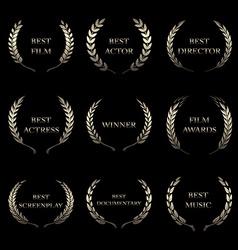 Film awards award wreaths on black background vector