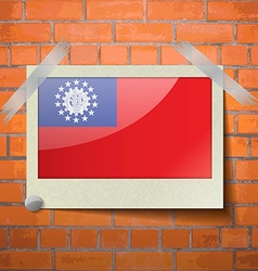 Flags MyanmarBurma scotch taped to a red brick vector image