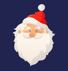 Happy smiling santa claus head with red hat and vector