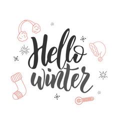hello winter handwriting script lettering for vector image