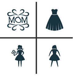 Holiday icons set collection of woman female vector