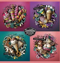 Ice cream cartoon doodle set vector