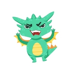 Little anime style baby dragon angry in offence vector