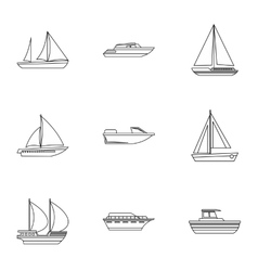 Maritime transport icons set outline style vector image vector image
